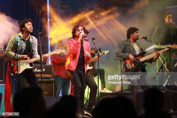Delhibased multigenre Hindi band Astitva performing during the Hindustan Times Palate Fest 2017 at Nehru Park on November 17 2017 in New Delhi India...