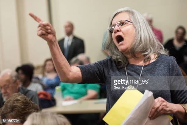 Delia Blintz of Florence SC voices her concerns during a town hall meeting with US Rep Tom Rice at the Florence County Library on February 23 2017 in...