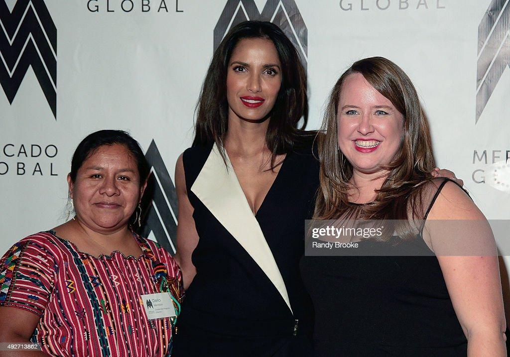 Delia Mendoza, Padma Lakshmi and Ruth DeGolia attend the 2015 Mercado Global Fashion Forward Gala at The Bowery Hotel on October 14, 2015 in New York City.