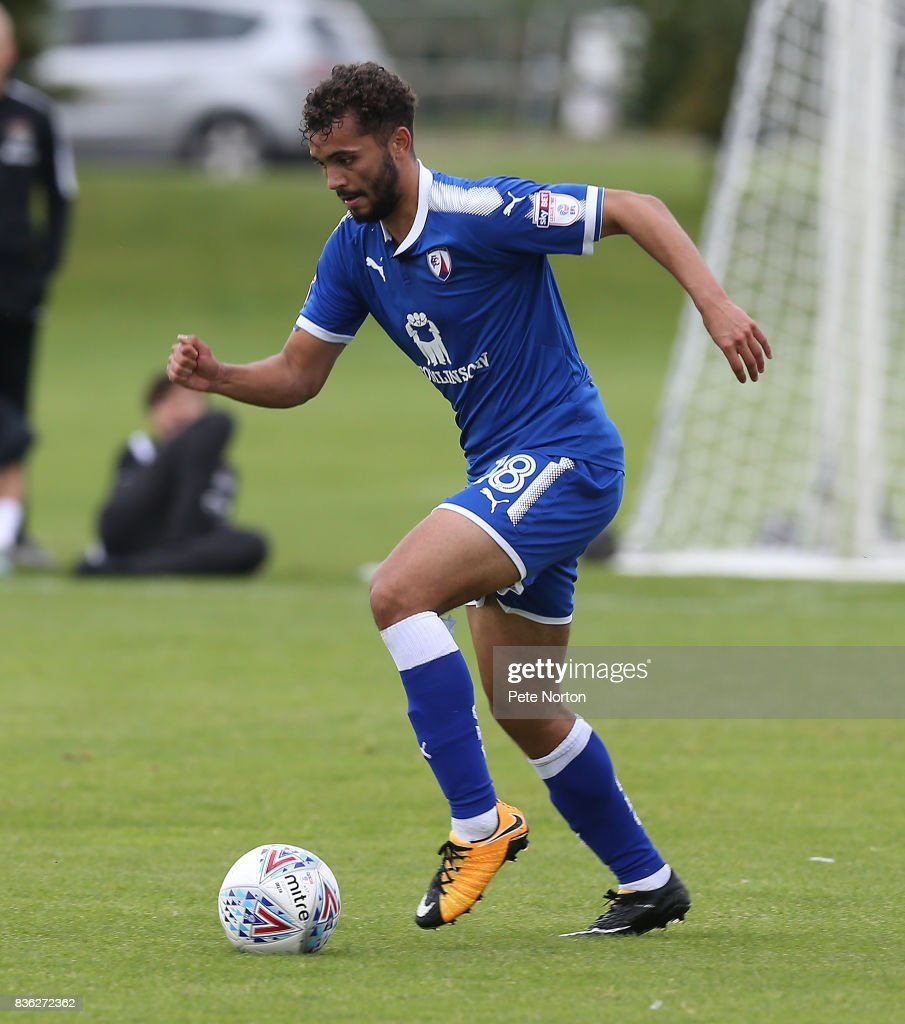 Delial Brewster of Chesterfield in action during the Reserve Match between Northampton Town and Chesterfield at Moulton College on August 21, 2017 in Northampton, England.