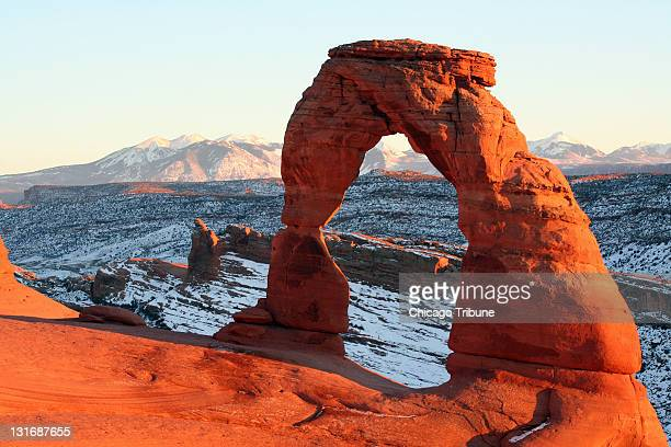 Delicate Arch is one of the most popular sites in Arches National Park in Eastern Utah but set against snow in winter it becomes even more stunning