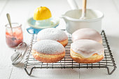 Delicious and sweet donuts hot and freshly baked