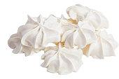 Delicious appetizing meringue isolated on white background