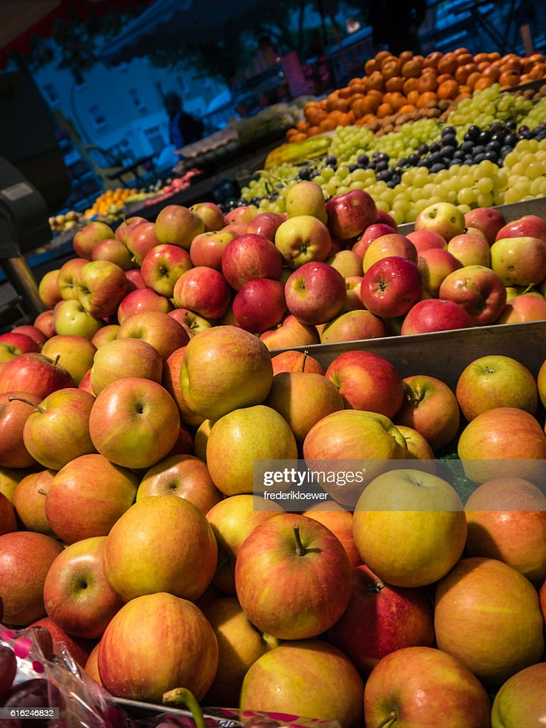 Delicious Apples and other fruits on a Market : Stock Photo