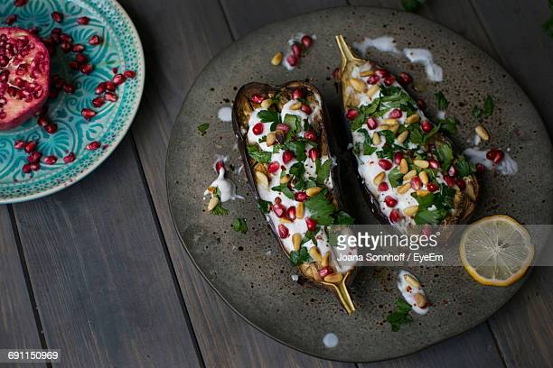 Delicious Baked Eggplant Served On Plate
