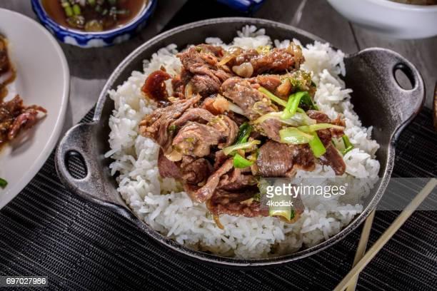 Delicioso Bulgogi, marinado en salsa de soja y el ajo y jengibre, sobre arroz al vapor