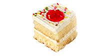 Delicious cake on white