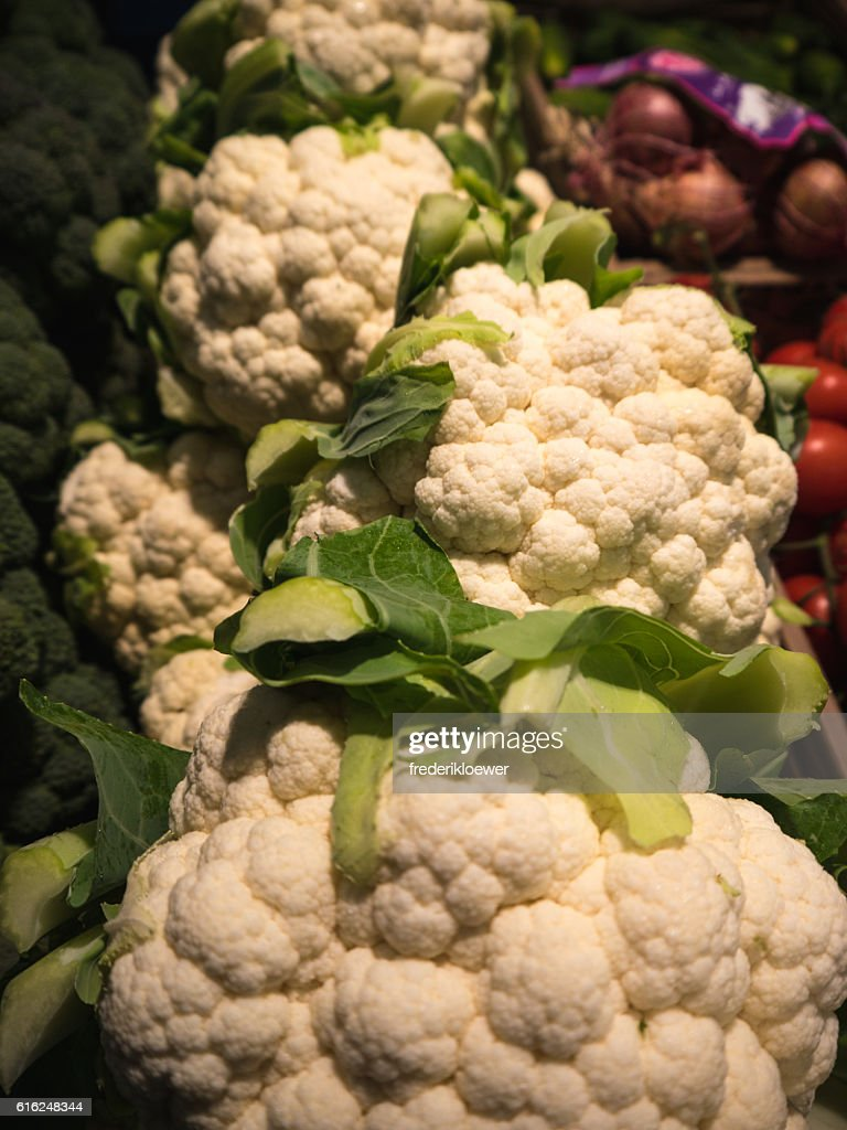 Delicious Cauliflower on a Market : Stock Photo