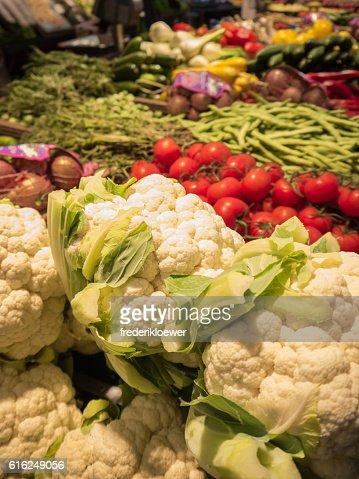 Delicious Cauliflower on a Market : Stock Photo