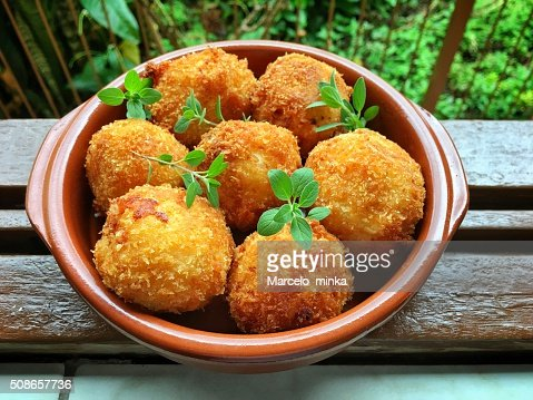 Delicious cheese dumplings for lunch in the sunshine. : Stock Photo