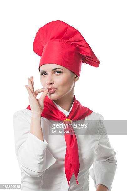 Délicieux, le chef de cuisine, isolé sur blanc