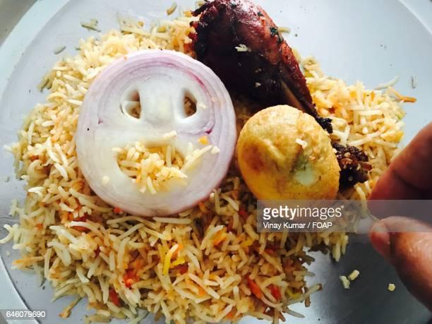 Delicious chicken biryani with egg