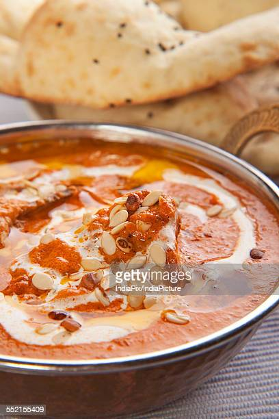 Delicious chicken curry with tandoori rotis