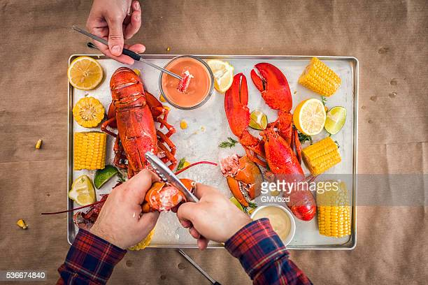 Delicious Cooked Lobster with Sweetcorn, lemon and Dipping Sauce