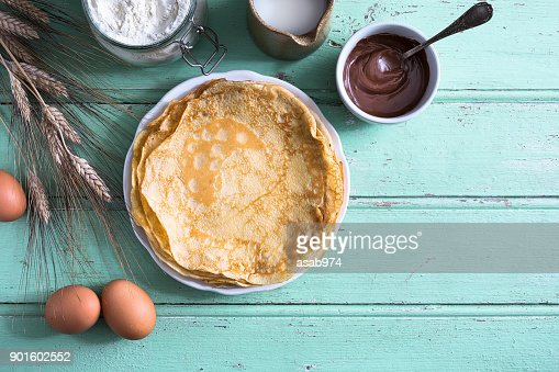 Delicious crepe for Chandeleur party : Stock Photo