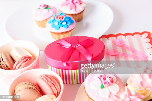 delicious dessert table for big party : Stock Photo