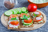 delicious diet sandwiches with cottage cheese with herbs and vegetables on a gray background