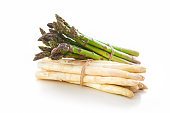 Bundle of white and green asparagus on white background