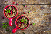 delicious gluten free cranberry  crumble pie , top view