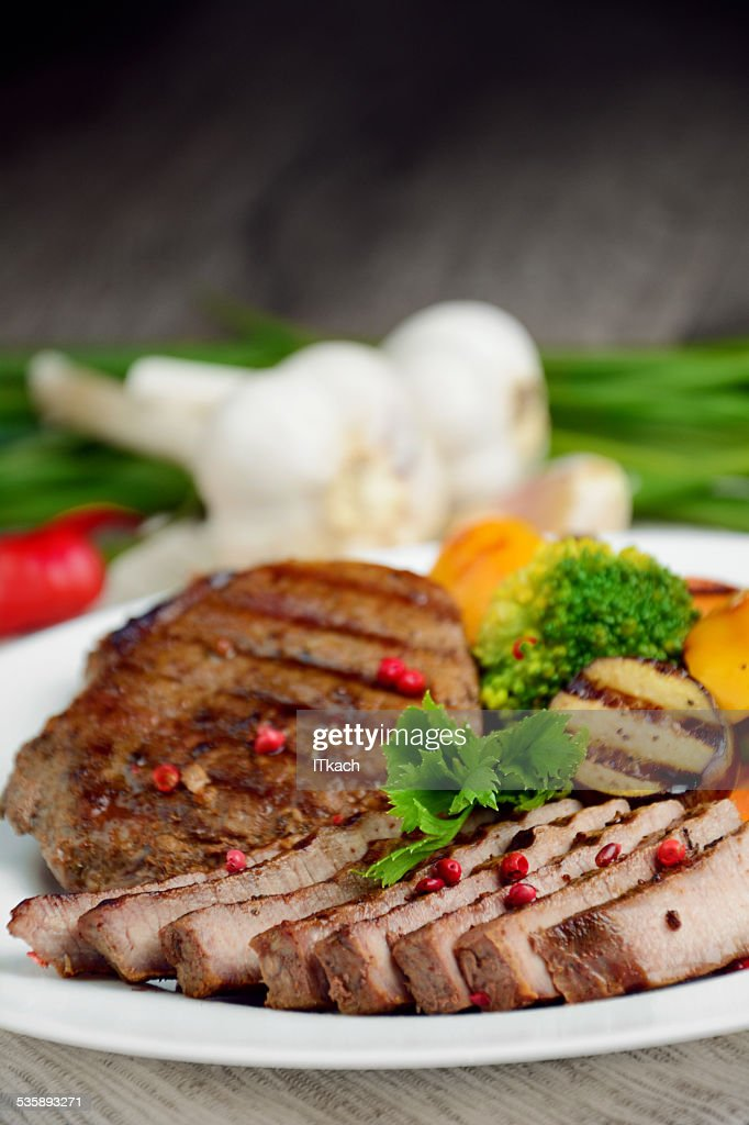 Delicious grilled beef steakes : Stockfoto