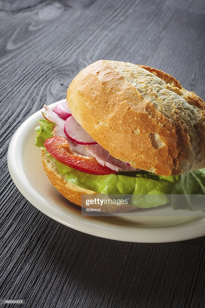 Delicious ham baguettes with fresh lettuce : Stock Photo