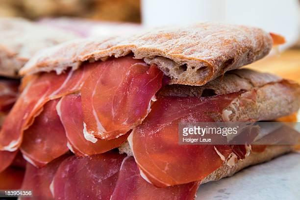 Delicious ham sandwiches for sale at market
