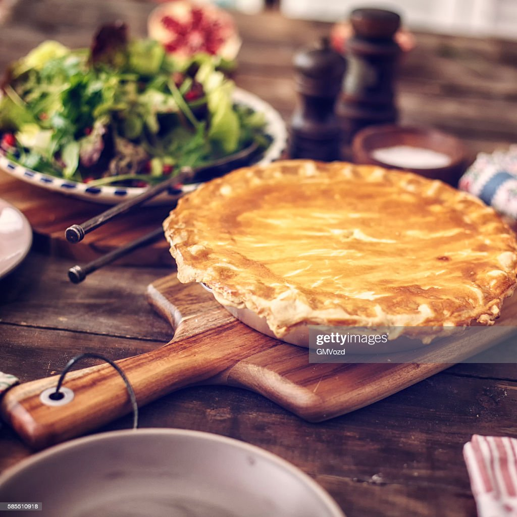 Delicious Homemade Chicken Meat Pie : Stock Photo