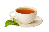 delicious hot Green tea on white background
