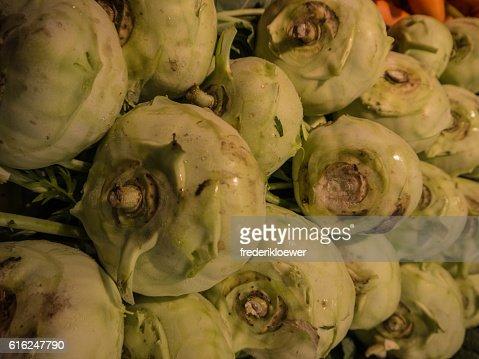 Delicious Kohlrabi on a Market : Foto de stock