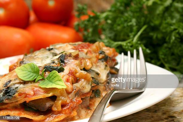Delicious lasagna served on a white plate with garnish