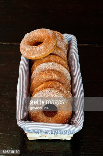 Delicious little donuts made with pumpkin and sugar : Stockfoto