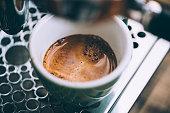 Delicious morning fresh espresso coffee with a thick crema