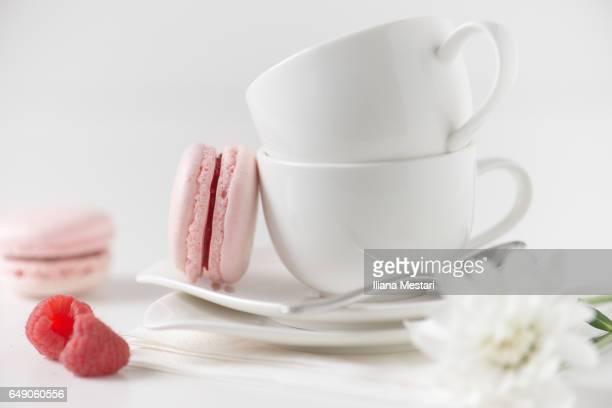 Delicious pastel raspberry macarons