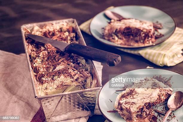 Deliziosi Dessert al cioccolato Gelato al pistacchio