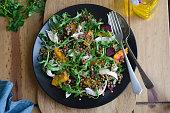 Shredded chicken, puy lentil and beetroot salad