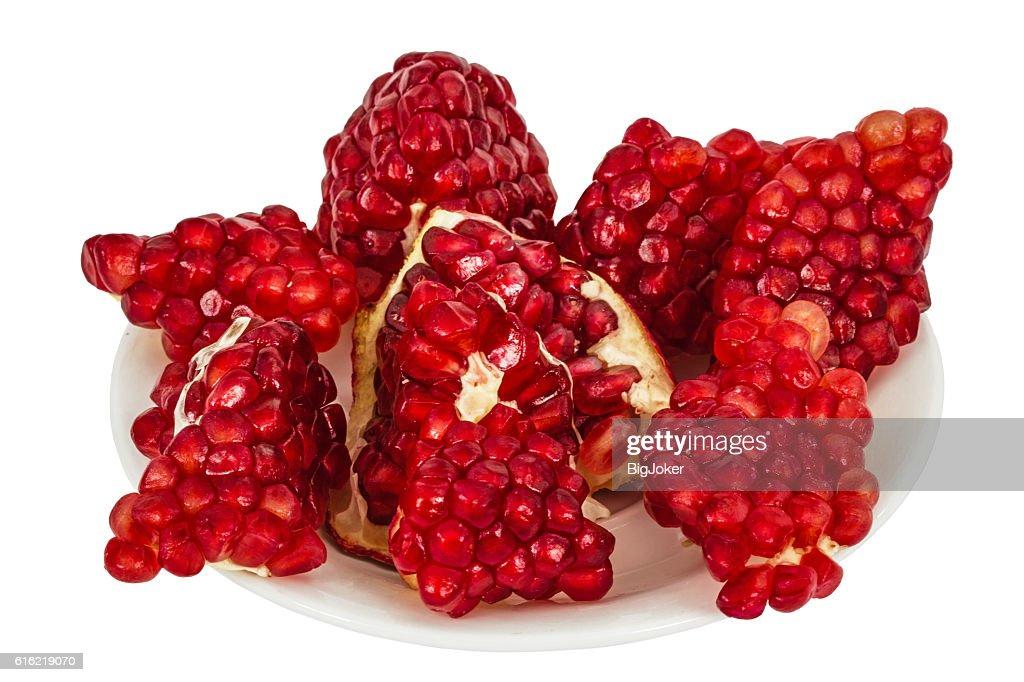 Delicious pomegranate fruit, isolated on white  background : Stock Photo