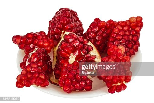 Delicious pomegranate fruit, isolated on white  background : Stock-Foto