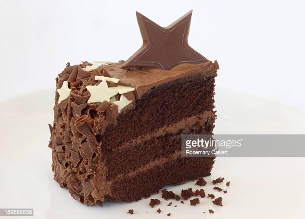 Delicious slice of chocolate cake.