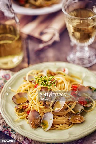 Delicious Spaghetti alla Vongole Served on a Plate