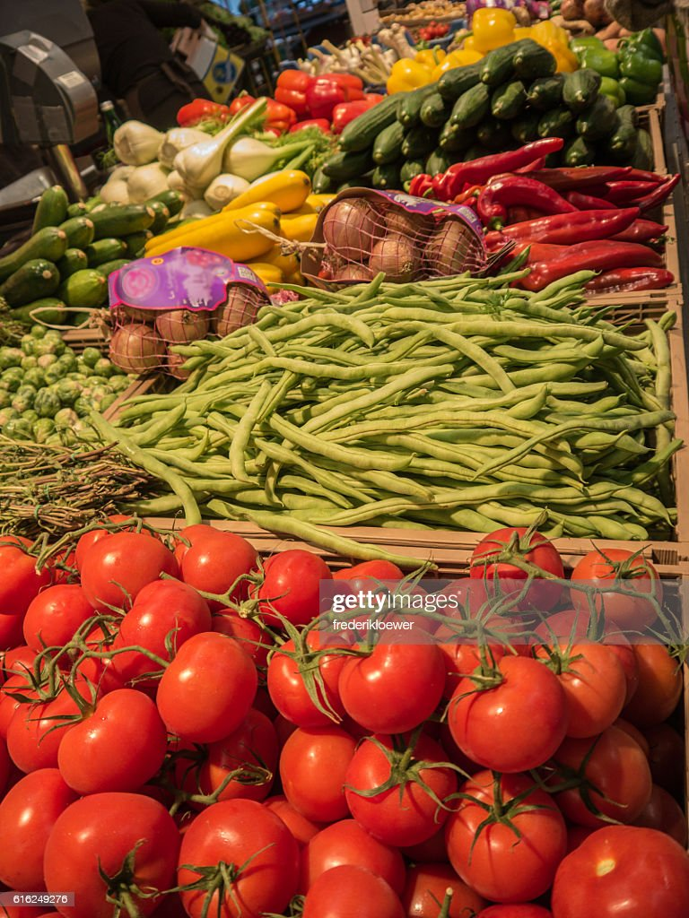Delicious Tomatoes and other Vegetables on a Market : Foto de stock