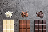Delicious and sweet variety of chocolate on rustic background