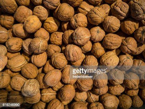 Delicious Walnuts on a Market : Foto de stock