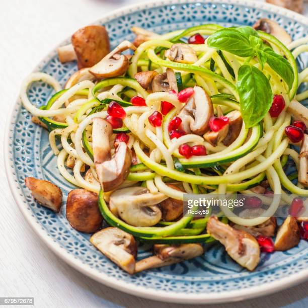 Delicious Zoodles with Mushrooms and Pomegranate Seed