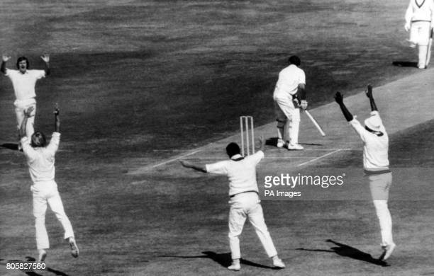Delight from Lancashire as Yorkshire batsman John Hampshire is caught out by Lancashire's Farokh Engineer August 25th 1975