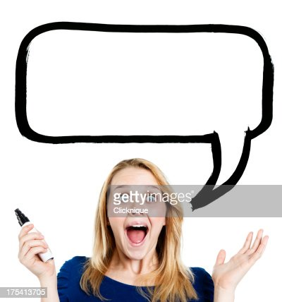 Delighted blonde teenager with blank speech bubble for your mess