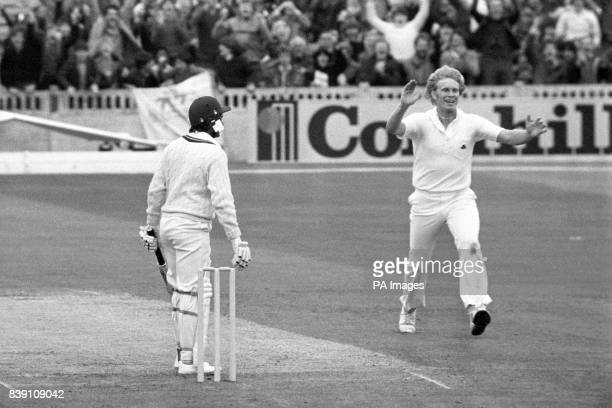 A delighted Graham Dilley of England when he made it two out of two by claiming the wickets of West Indians Gordon Greenidge and Faoud Bacchus off...