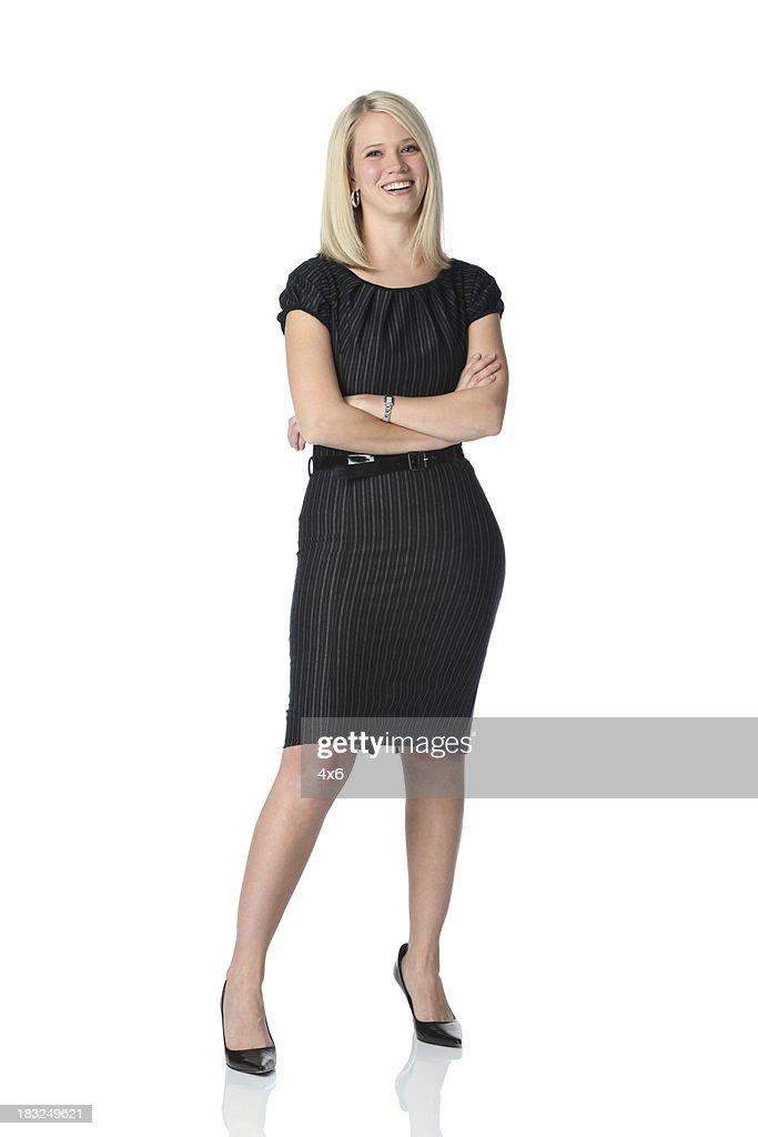 Delighted young businesswoman