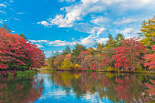 Delightful autumn colors of Kumoba pond in Karuizawa,Japan