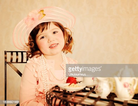 Delightful Little Girl Tea Partying