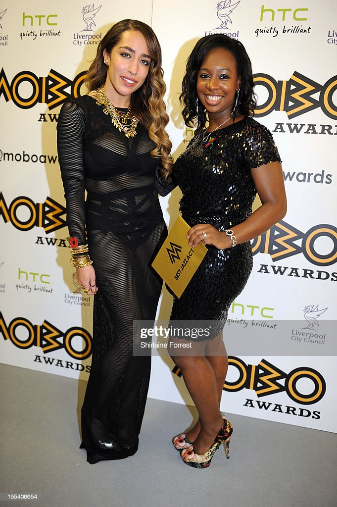 Delilah and Yolanda Brown poses in the awards room at the 2012 MOBO awards at Echo Arena on November 3, 2012 in Liverpool, England.